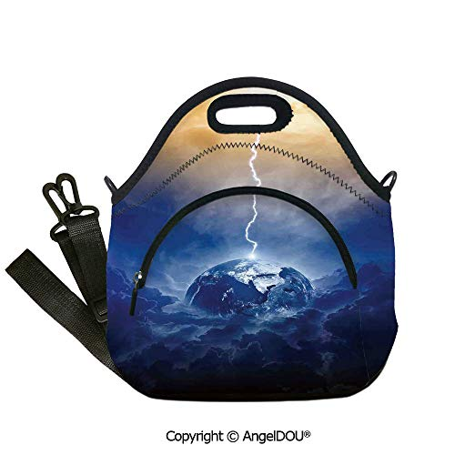 Illumination Transformer - AngelDOU Lake House Decor Lunch Bag with Adjustable Shoulder Strap Big Lightning Hits Planet Earth in Dramatic Sky Energy Illumination Atmosphere Print for women Portable Insulat12.6x12.6x6.3(inch)