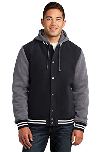 Sport-Tek Men's Insulated Letterman Jacket XXL Black/Vintage Heather