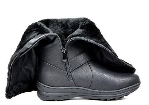 TRAUM-PAAR-Frauen Winter voll Pelz gefüttert Reißverschluss Schnee kniehohe Stiefel Kaninchenschwarzes Pu