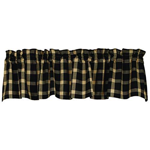 Belle Haven Black Plaid 72 x 14 Cotton Fabric Window Treatment Valance