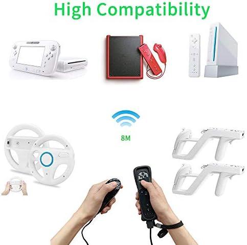 Mando a distancia NC Wii con Nunchaku Joystick, utilizado para Nintendo Wii y Wii U Consola, Gamepad con funda de silicona y correa de muñeca (1 juego), color negro 8