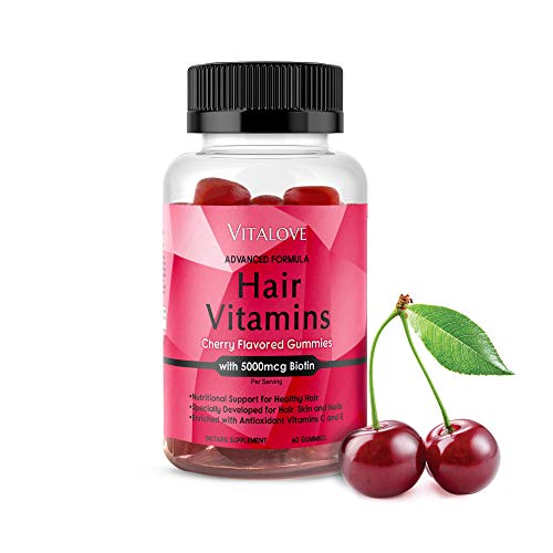 Hair Growth Gummy Vitamins with Biotin. Exclusive Hair Growth for Longer, Stronger, Silky & Soft Hair. Results in 1 Month. Gluten Free. Non-GMO for Hair Growth. Made in USA. (Best Vitamins To Help Hair Grow)