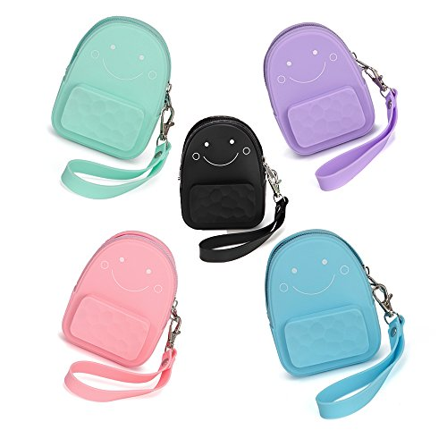 Silicone Coin Purse Smiling Face Keychain Charms Mini Backpack Shape - Large Capacity MIXED