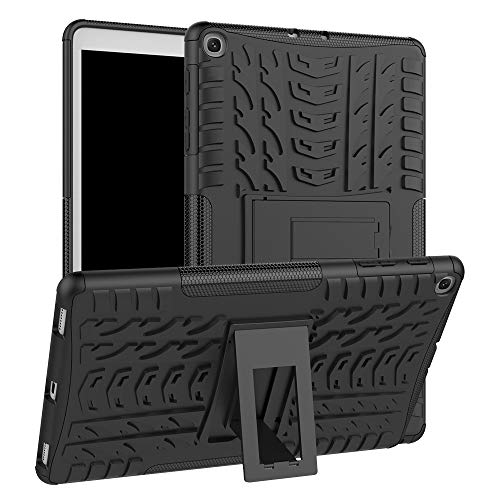 for Samsung Galaxy Tab A 10.1 2019 SM-T515/ T510 Hybrid Rugged Hard Rubber PC Stand Case Three Layer Heavy Duty Shockproof Cover Kids Students (Black)