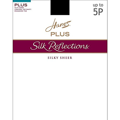 Hanes Silk Reflections Women`s Plus Sheer Control Top Enhanced Toe Pantyhose