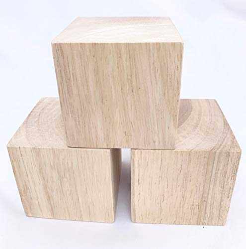 3 Inch Solid Wood Blocks Pack of 3