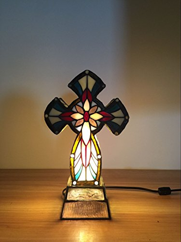 FixtureDisplays Tiffany Lighted Cross Christian Gifts/ Lamps 16699! by FixtureDisplays