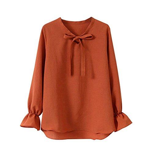 T Bowknot Longue de Mousseline Chemise Elgante Orange Avec Manche Femme AILIENT Shirt Blouse T en Soie Mode Blouse Shirt Ample qYUgxfw