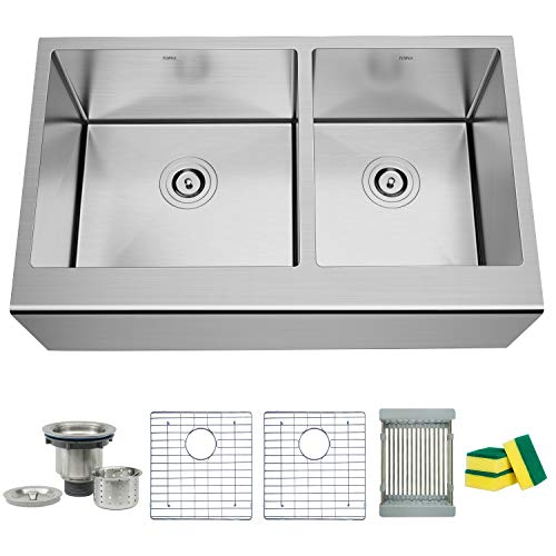 (TORVA 33 Inch Farmhouse Kitchen Sink Apron Front 60/40 Double Bowl Flat Front 16 Gauge Stainless Steel)