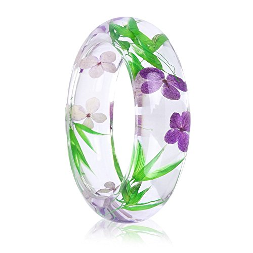 - RINHOO Handmade Real Dry Pressed Flower Botanical Rose Garden Transparent Resin Quartz Crystal Bangle Bracelet (Bamboo)