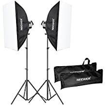 """Neewer 2000W Photography Softbox Lighting Kit, Includes: (2)5 Sockets Light Holder, (2)83""""/210cm Light Stand, (2)20x28""""/50x70cm Softbox, (10)Bulbs, (2)Carrying Case"""