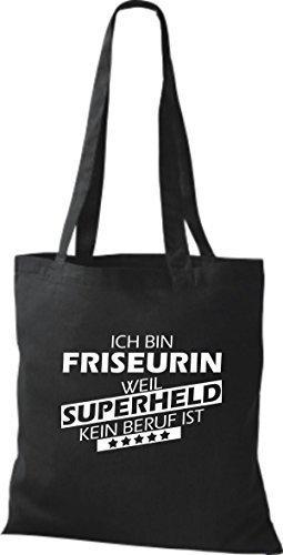 Shirtstown Stoffbeutel Ich bin Friseurin, weil Superheld kein Beruf ist schwarz