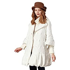 Clothing/Outerwear/Coats Jacket Ladies Long Jacket Winter New 90% White Duck Down Lace Jacket A-Type Five-Point Sleeve Down Jacket Fashion Trend (Color : White, Size : M)