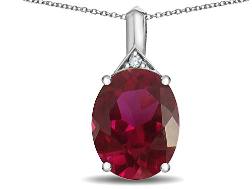(Star K Expressions Large 12x10mm Oval Created Ruby Pendant Necklace 10 kt White Gold)
