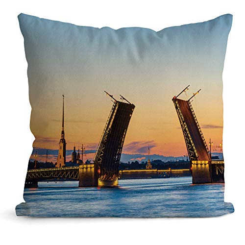 Famous Raising Colorful Bridge with Peter and Paul Fortress Behind it,Throw Pillow Cushion Covers St Petersburg Decorative Square Accent Pillow Case 22