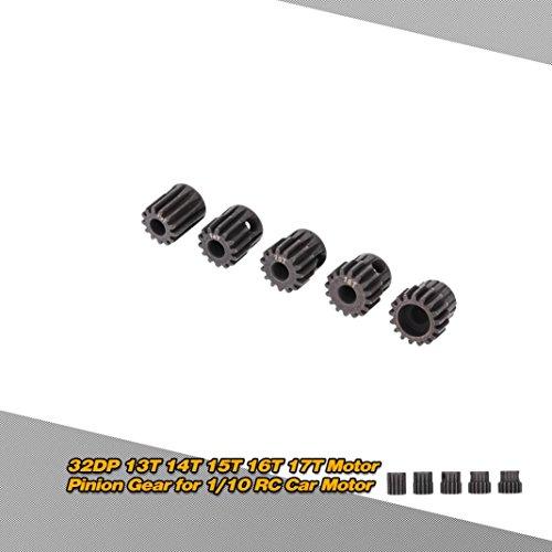 (DZT1968 5pc/Set GoolRC 5Pcs 32DP 5mm 13T 14T 15T 16T 17T Motor Pinion Gear Combo Set for 1/10 RC Car Brushless Motor Gold)