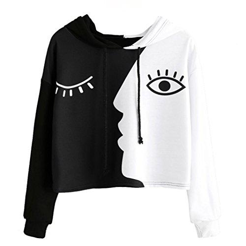 - AMSKY Women Teen Girls Pullover Hoodie, Long Sleeve Color Block Face Print Sweatshirt Junior Hooded Crop Top Blouse (S, Black)