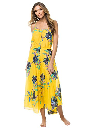 Diane von Furstenberg Women's Cinched Waist Maxi Dress, Argos Pineapple, Medium