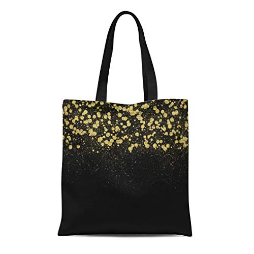 Semtomn Cotton Line Canvas Tote Bag Bling Gold Confetti Glam Chic Glitz Black Sparkly Reusable Handbag Shoulder Grocery Shopping Bags
