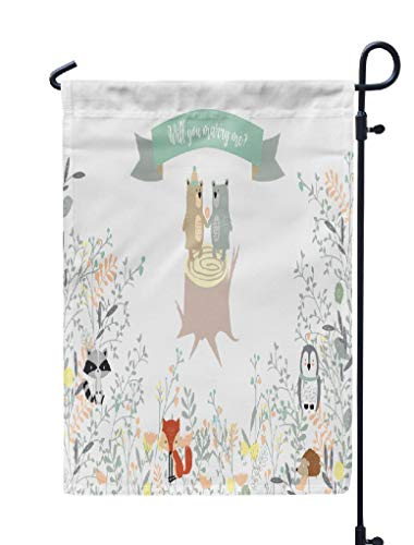 Soopat Fox Floral Seasonal Flag, Blue Green Collection Banners with Leaf Flower Bear Fox Weatherproof Double Stitched Outdoor Decorative Flags for Garden Yard 12''L x 18''W Welcome Garden Flag ()