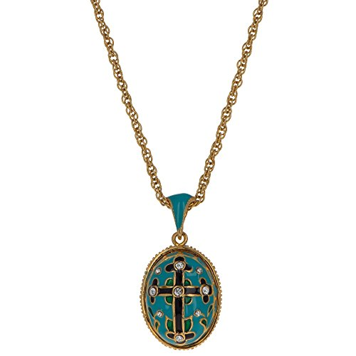 Enamel Egg Pendant - BestPysanky Turquoise Enamel Black Cross Royal Russian Egg Pendant Necklace 22
