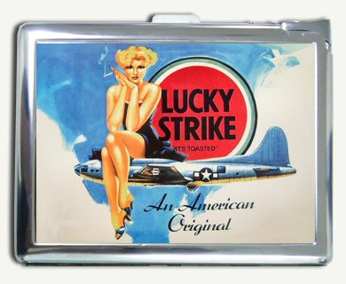Vintage Lucky Strike Bomber Lady Sign Cigarette Case Lighter Wallet Card Holder