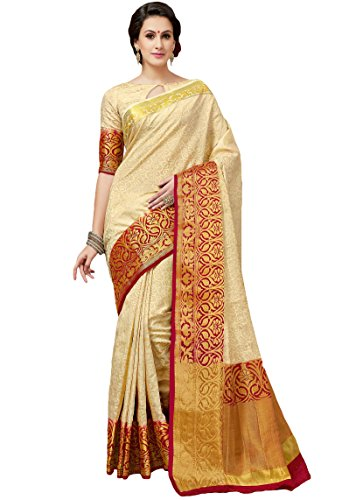 Women's Cream with Red Border Tussar Brasso Saree Set with Double (Ivory Silk Blouse)