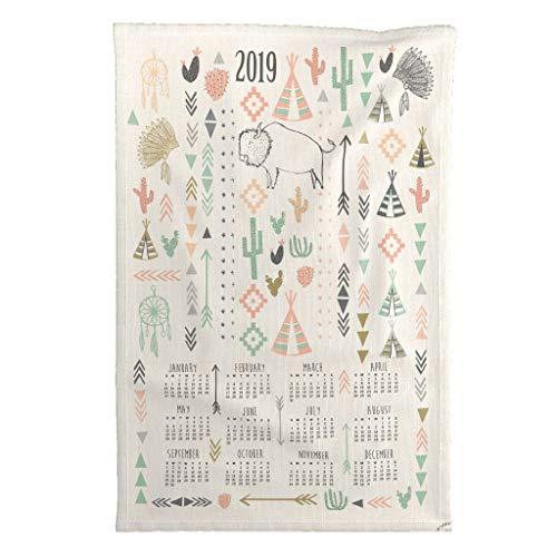 Roostery 2019 Tea Towel Calendar Wall Hanging Art Kitchen Dates by Laurawrightstudio Special Edition Linen Cotton Tea Towel