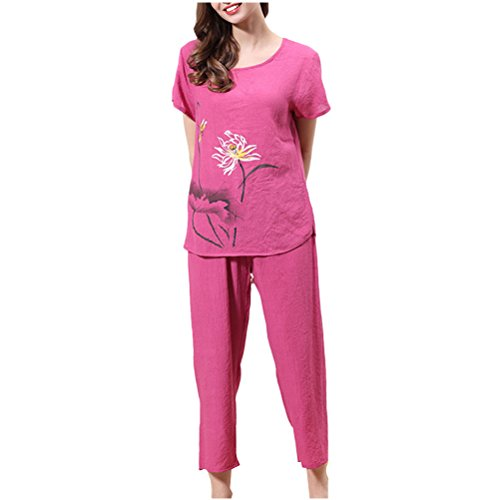 Red Variety Printing Fashion Rose Womens Pyjama Zhhlaixing Colours Short Set Suit Sleeve wqgAApP