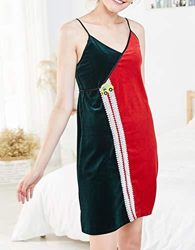 Sexy Pigiama Autunno Inverno Delle I Mantenere Fasce Donne Camicia Confortevole pigiama Oro Notte Da Per Rosso Contrastano Le Caldo Verde Cwj E Vestiti ZAwgqd0Z
