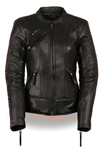 WOMEN'S MOTORCYCLE RIDING BLACK/PURPLE LEATHER JACKET W/PHOENIX STUDDING EMBROID (M Regular)