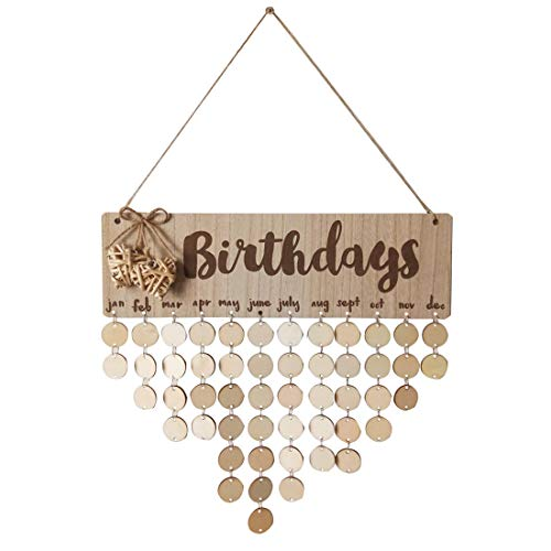 Ivinxy Family Friends Birthday Reminder Calendar Plaque Board Wooden Crafts Wall Door Signwith Heart Decoration]()
