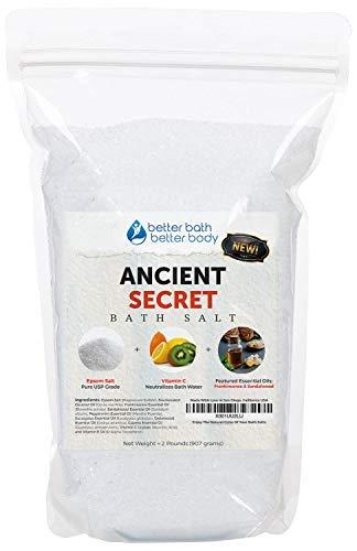 NEW Ancient Secret Bath Salt 32oz (2-Lbs) Epsom Salt With Frankincense, Sandalwood, Peppermint, Eucalyptus, Cedarwood, Cypress Essential Oils - Unlock Ancient Healing Powers In Your Bath