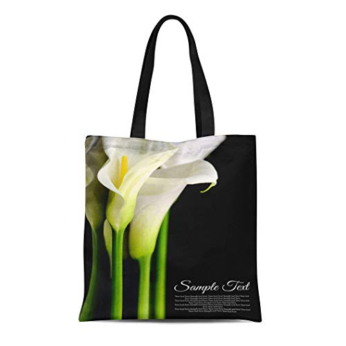 (Semtomn Canvas Tote Bag Shoulder Bags Lilly Funeral Beautiful White Calla Lilies Reflection on Black Women's Handle Shoulder Tote Shopper Handbag)