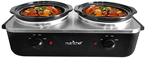 NutriChef AZPKBFWM26 Dual Pot Electric Slow Cooker/Warmer, 13.25 x 27x 8.75, Black