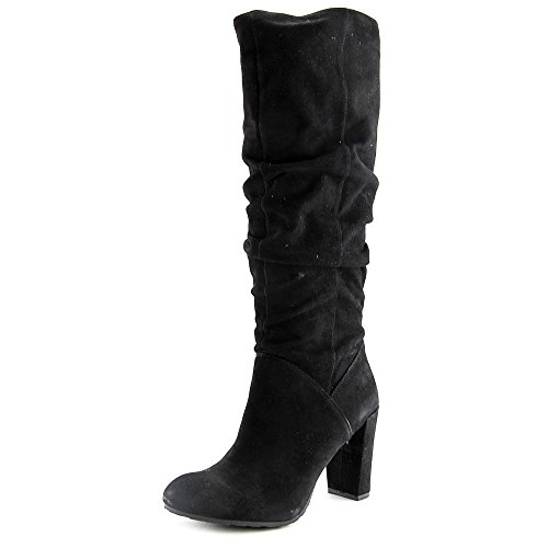 Nine West Women's Shirly Suede Slouch Boot, Black, 8 M US