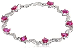 """Sterling Silver, Created Ruby, and Diamond Bracelet (0.02 cttw, H-I Color, I2-I3 Clarity), 7"""" by Amazon Curated Collection"""