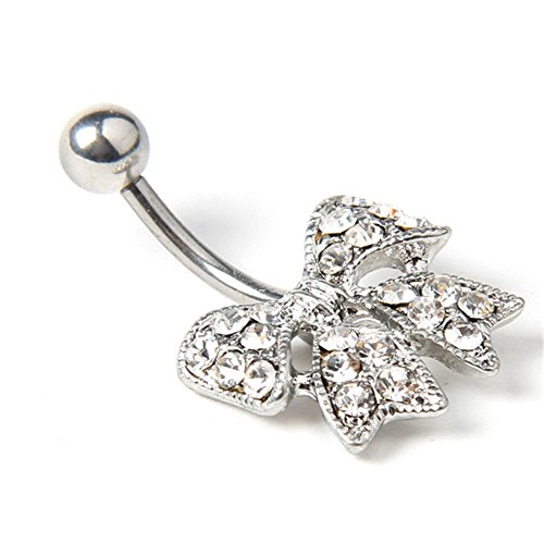 BODYA Sexy Belly Button Ring Clear Cz Crystal Gems Bow Bowknot 14g Navel Barbell Bar Piericng (Sexy Gem Navel Ring)
