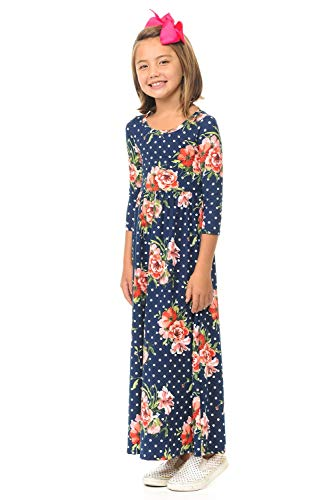 Pastel by Vivienne Honey Vanilla Girls' Fit and Flare Maxi Dress Small Floral Navy Polka -