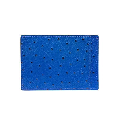 GOLDBLACK Premium Designer Kreditkartenetui Lederetui Ostrich Blau [ECHT LEDER] das Original, kleiner dünner Luxus Kartenetui edles Portmonee Ultra Slim Etui Tasche aus Echtleder, 1 Jahr Garantie