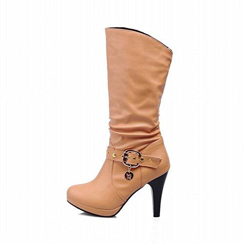 Carolbar Heel Slouch Stiefel Mode Gelb Damen Moderne High Stiletto Schnalle 1RB1r