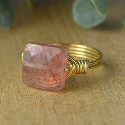 Faceted Strawberry Quartz Square Gemstone Bead and Sterling Silver or Gold Filled Wire Wrapped Ring- Made to size 4-14