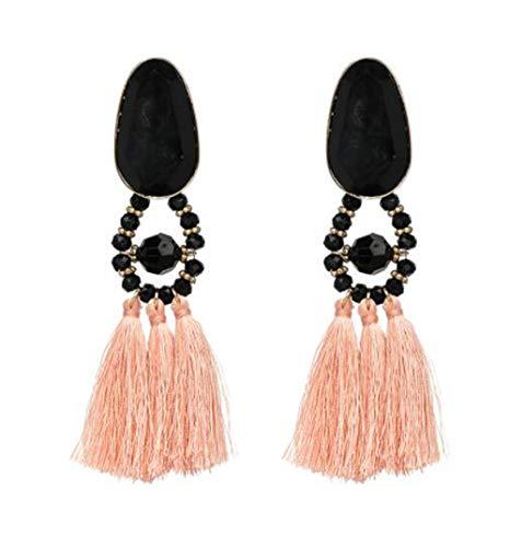 HoGadget Bohemian Statement Thread Tassel Earrings Seeded Beads Chandelier Drop Dangle Earrings