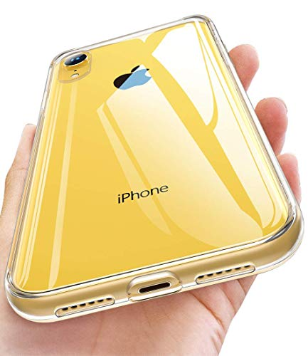 Humixx iPhone XR Case, [Anti-Yellow] Crystal Clear 9H Tempered Glass Case with Soft Grip TPU Frame, Ultra Transparent, Shockproof, Scratchproof, Full Protective Cover for iPhone XR(2018)