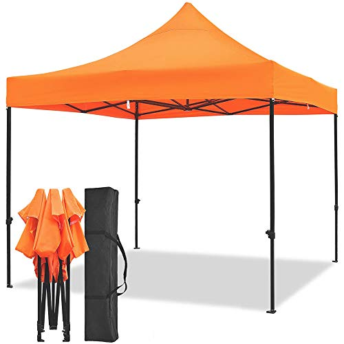 Snail 10x10-FT Easy Pop up Canopy Tent with Heavy Duty 420D Waterproof and UV-Treated Cover, Shade for Beach Outdoor Commercial Tent Instant Sun Shelter Gazebo with Carrying Bag, ()