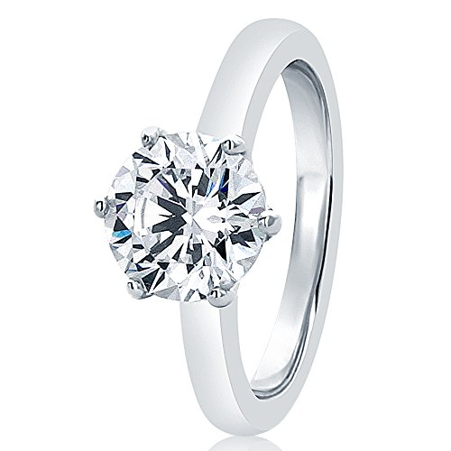 6 Prong Ring (Sterling Silver Round 2ct CZ 6 prong Classic Solitaire Wedding Engagement Ring 8MM (Size 5 to 10), 5)