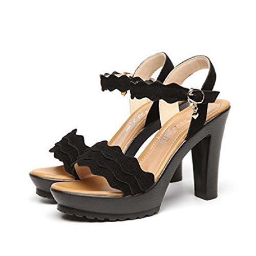Sandales à Talons de Mode pour Les Femmes Ouvertes Orteil épais Plate-Forme de Chaussures Robe de Cheville Sangle de Pompe Wedge Noir FhSMs6eNVQ