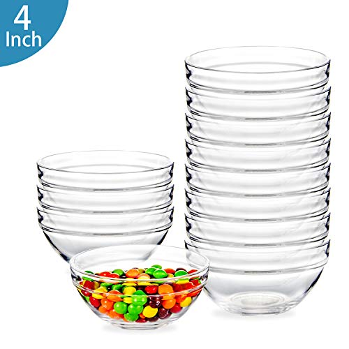 4 Inch Glass Ramekins Bowls,WERTIOO Mini Glass Bowls for Kitchen Prep, Dessert, Dips, and Candy Dishes or Nut Bowls, Set of 12