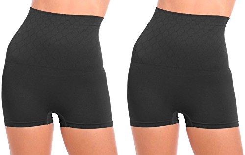 WunderWear Women's 2 Pack Seamless Firm Control Compression Hi-Waist Boy Shorts (Black, 2X)