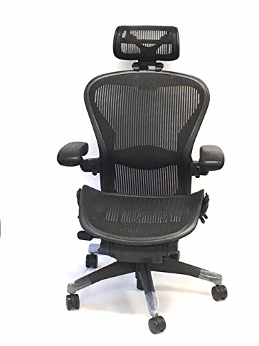 Herman Miller Size B Fully-Adjustable Lumbar Support Aeron Chair With H4 Carbon Headrest (Pinnacle Chair Office)